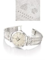 Omega. An extremely fine and rare 18K white gold automatic wristwatch with sweep centre seconds, hooded lugs and bracelet
