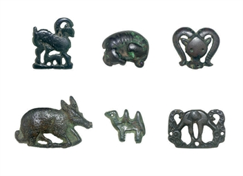 EIGHT BRONZE FIGURAL FITTINGS,