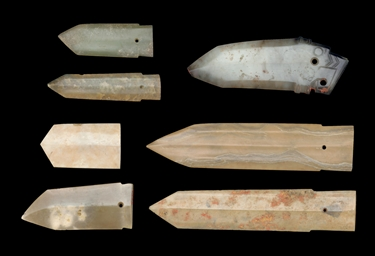 A GROUP OF SEVEN JADE BLADES,