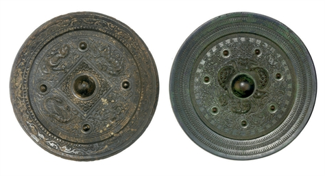 TWO BRONZE MIRRORS, PROBABLY H