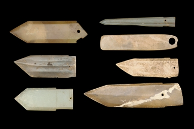 A GROUP OF SIX JADE BLADES, SH