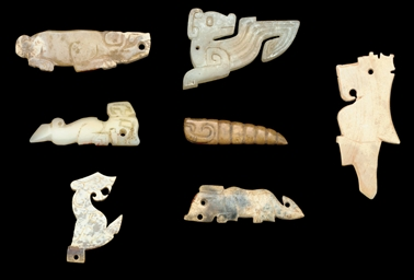 SIX EARLY JADE FIGURAL PENDANT