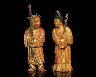 A PAIR OF GILT LACQUERED WOOD