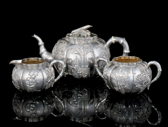 A THREE PIECE SILVER TEA SERVI