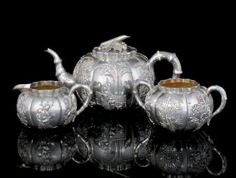 A THREE PIECE SILVER TEA SERVI