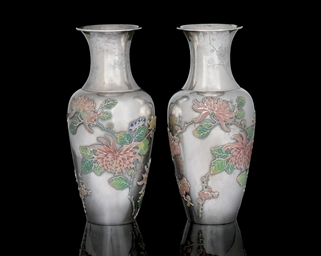 A PAIR OF ENAMELLED SILVER VAS