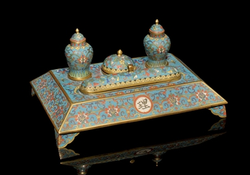 A CLOISONNE ENAMELLED DESK SET