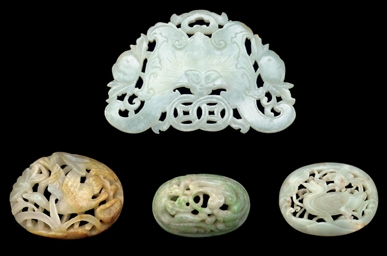 FOUR JADE AND JADEITE PLAQUES,