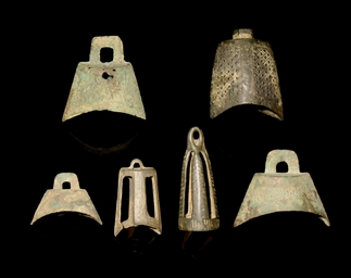 SIX MINIATURE BRONZE BELLS, PR