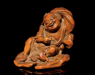 A BAMBOO CARVING OF LUOHAI, 17