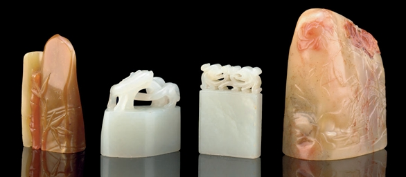 TWO CARVED WHITE JADE SEALS, 2