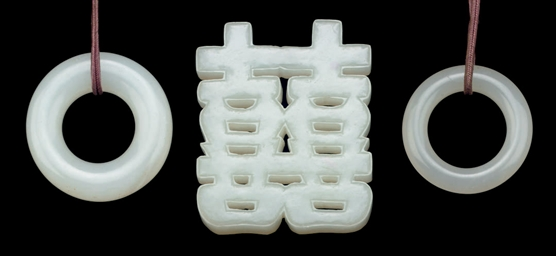 THREE WHITE JADE PENDANTS, 20T