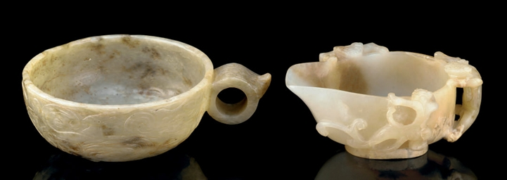 TWO JADE LIBATION CUPS, 18TH A