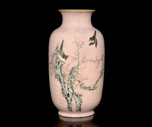 A FAMILLE ROSE VASE, 19TH CENT