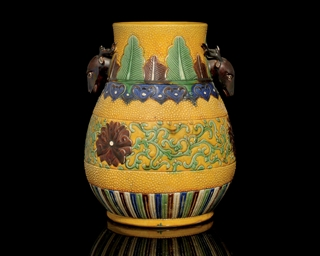 A GLAZED HU VASE, 19TH CENTURY