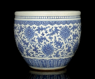 A BLUE AND WHITE JARDINIERE, 1