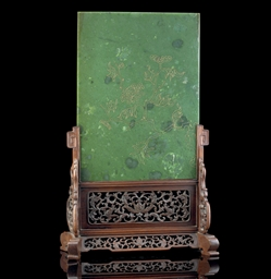 A LARGE SPINACH JADE TABLE SCR