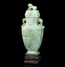 A JADEITE BALUSTER VASE AND CO