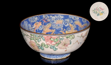 A FINELY PAINTED ENAMEL BOWL,