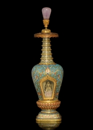 A CLOISONNE ENAMELLED AND GILT