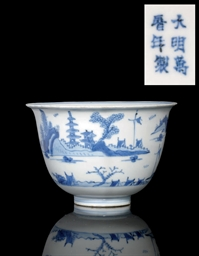 A BLUE AND WHITE BOWL, WANLI M
