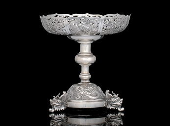 A SILVER EXPORT TAZZA, MARK OF