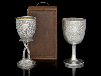 TWO SILVER EXPORT CUPS, MARKED