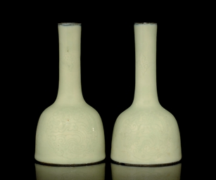 A PAIR OF CELADON GLAZED MALLE