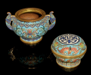 TWO SMALL CLOISONNE ENAMELLED