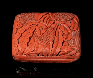 A CINNABAR LACQUER PASTE BOX,