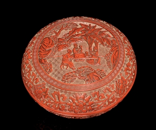 A CINNABAR LACQUER BOX AND COV