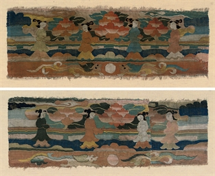 TWO SILK KESI PANELS