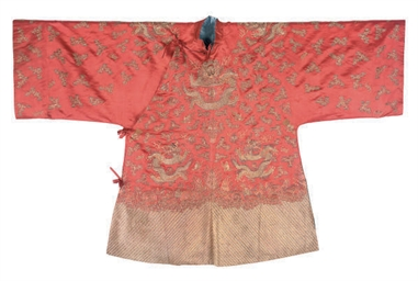 AN EMBROIDERED RED SILK HAN CH