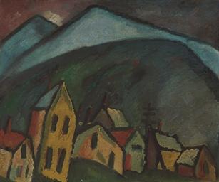 Berglandschaft mit Häusern