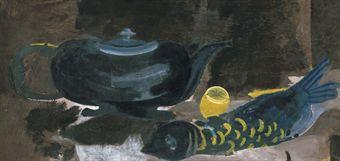 Nature morte à la théière, au citron et au poisson