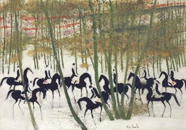 Cavaliers sur la neige