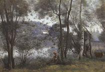 Ville d'Avray. L'Étang vu à travers le feuillage (Une vachère assise au bord de l'eau sous les arbres)