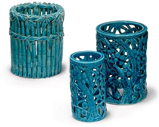 THREE CHINESE TURQUOISE GLAZED
