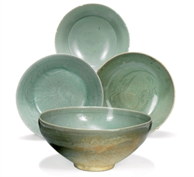 A GROUP OF FOUR KOREAN CELADON