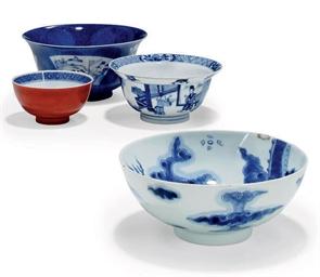 THREE CHINESE BLUE AND WHITE B