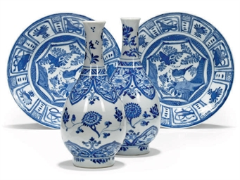 TWO SIMILAR CHINESE BLUE AND W