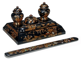 A JAPANESE LACQUERED AND INLAI