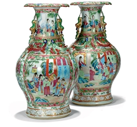 A PAIR OF SMALL CANTONESE VASE