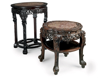A CHINESE CARVED ROSEWOOD AND