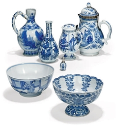 A GROUP OF SIX CHINESE BLUE AN