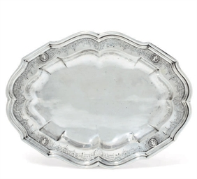 A GERMAN SHAPED OVAL SILVER DI
