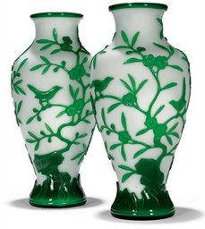 A PAIR OF CHINESE GREEN OVERLA