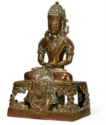 A CHINESE GILT-COPPER BODHISAT