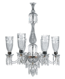 A CUT-GLASS SIX-LIGHT CHANDELI