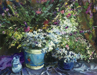 Summer blooms in blue vases, o